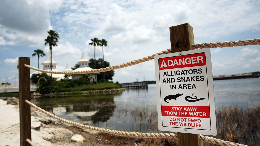 disney deaths - seven seas lagoon - aligator sign